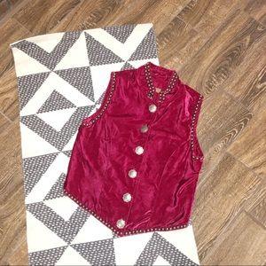 Vintage Double D Ranchwear Red Crushed Velvet Vest